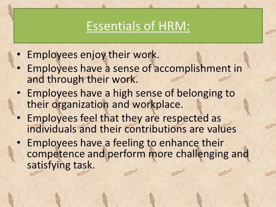 Essentials of HRM: Employees enjoy their work. Employees have a sense of accomplishment in and through their work. Employees have a high sense of belo