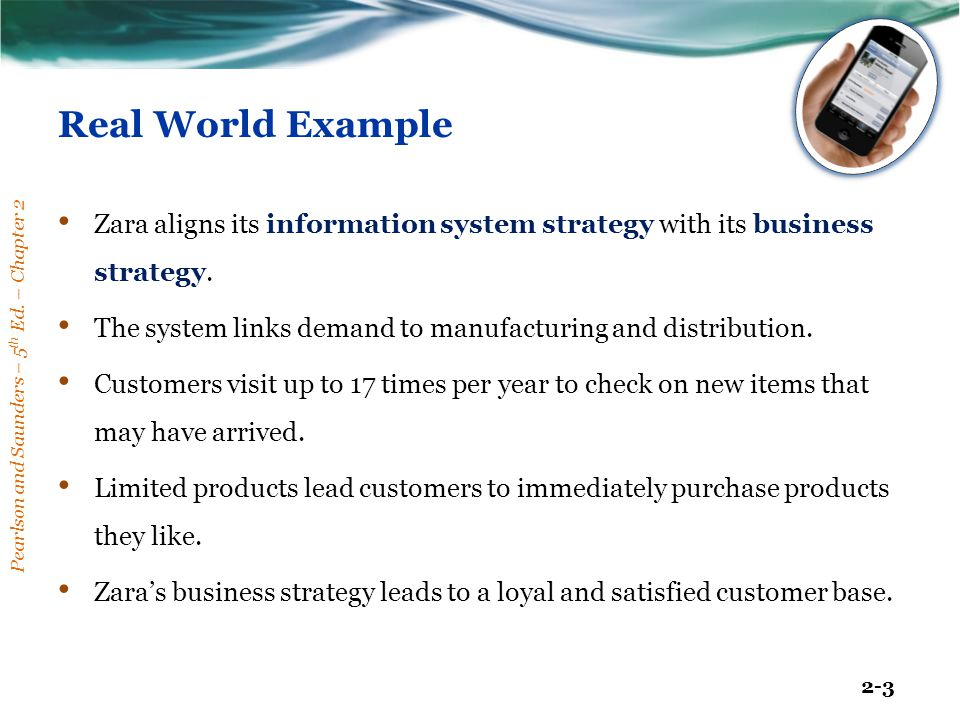 Pearlson and Saunders – 5 th Ed. – Chapter 2 2-3 Real World Example Zara aligns its information system strategy with its business strategy. The system