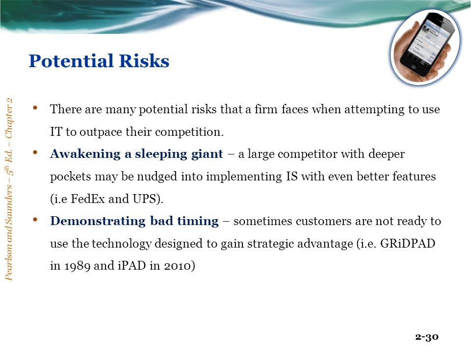Pearlson and Saunders – 5 th Ed. – Chapter 2 2-30 Potential Risks There are many potential risks that a firm faces when attempting to use IT to outpac
