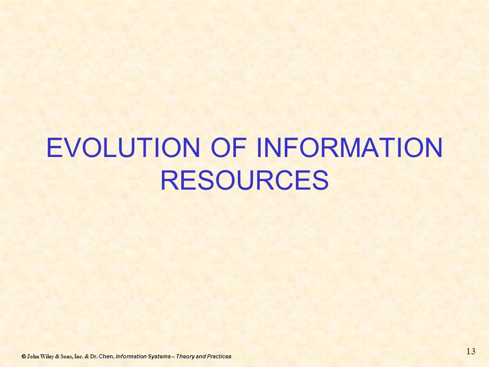 Dr. Chen, Information Systems – Theory and Practices  John Wiley & Sons, Inc. & Dr. Chen, Information Systems – Theory and Practices 13 EVOLUTION OF