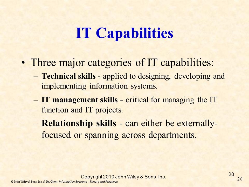 Dr. Chen, Information Systems – Theory and Practices  John Wiley & Sons, Inc. & Dr. Chen, Information Systems – Theory and Practices 20 IT Capabilit