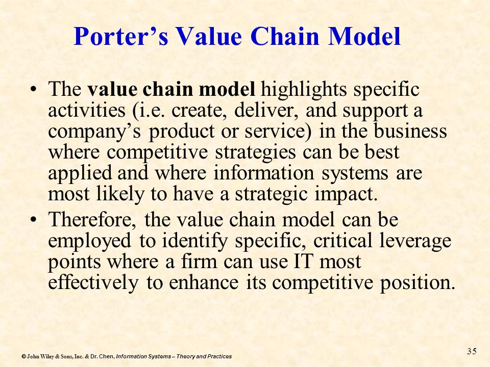 Dr. Chen, Information Systems – Theory and Practices  John Wiley & Sons, Inc. & Dr. Chen, Information Systems – Theory and Practices 35 Porter's Val