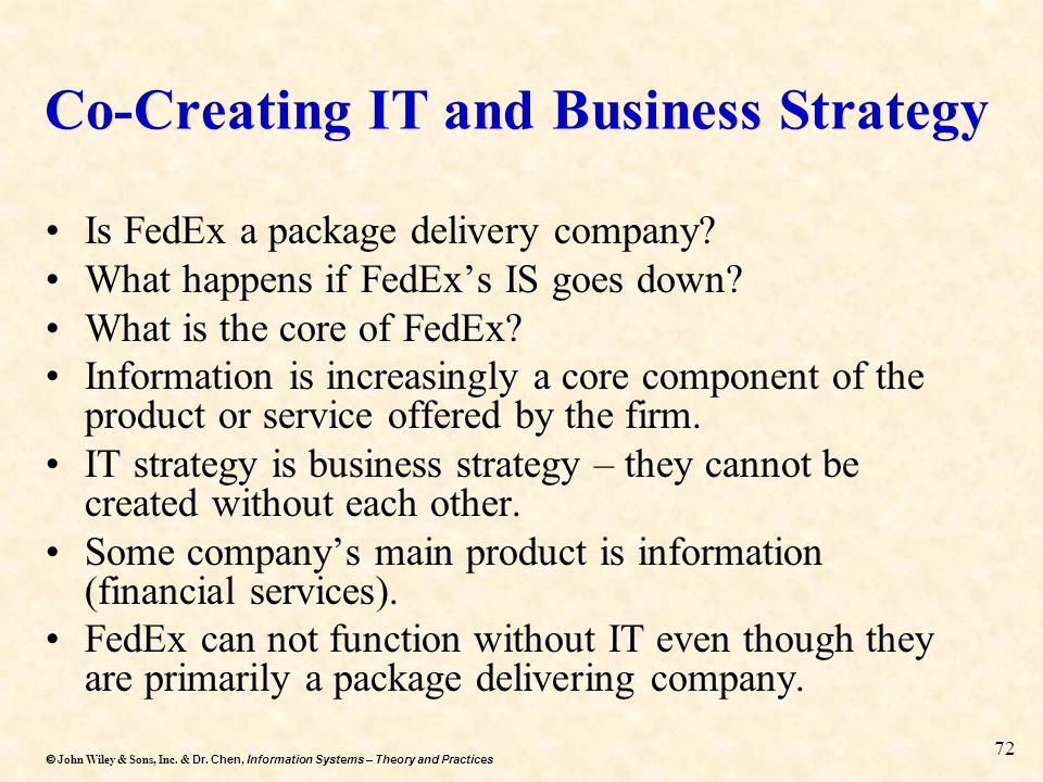 Dr. Chen, Information Systems – Theory and Practices  John Wiley & Sons, Inc. & Dr. Chen, Information Systems – Theory and Practices 72 Co-Creating