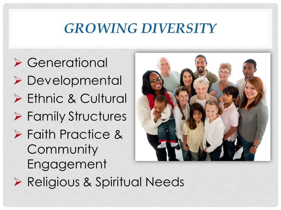 GROWING DIVERSITY  Generational  Developmental  Ethnic & Cultural  Family Structures  Faith Practice & Community Engagement  Religious & Spiritual Needs