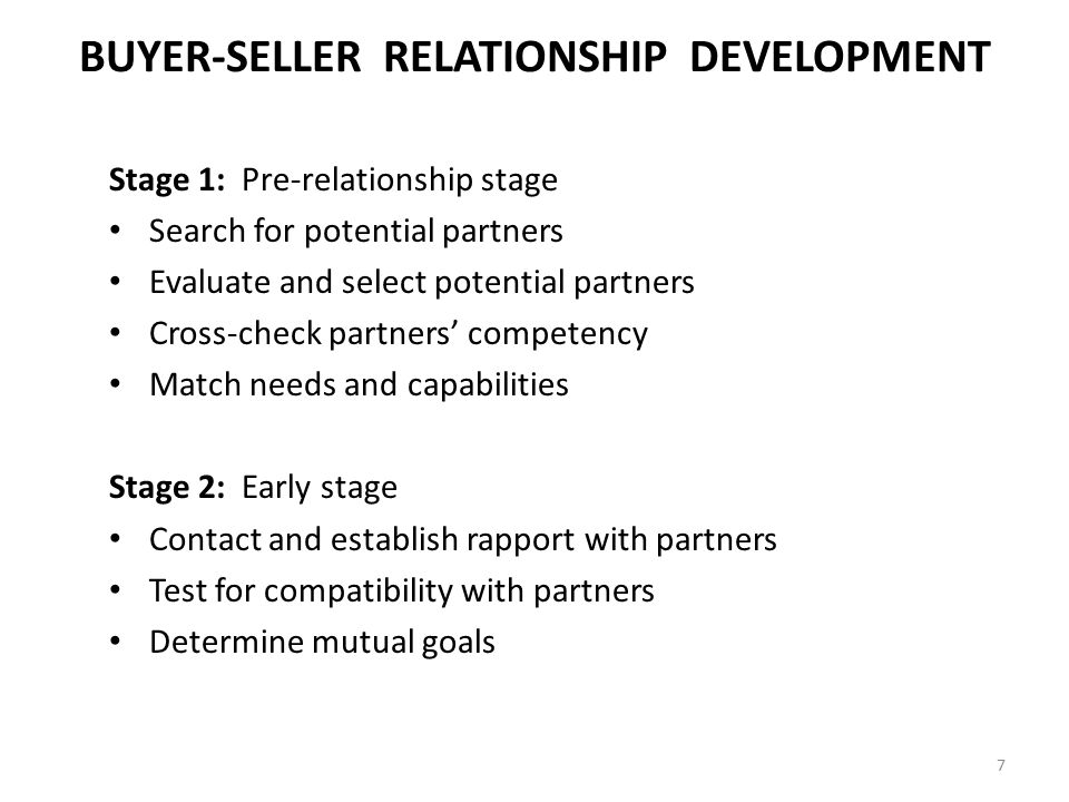 BUYER-SELLER RELATIONSHIP DEVELOPMENT Stage 1: Pre-relationship stage Search for potential partners Evaluate and select potential partners Cross-check