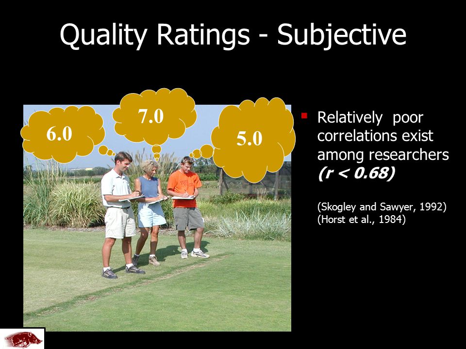 5.0 7.0 Quality Ratings - Subjective   Relatively poor correlations exist among researchers (r < 0.68) (Skogley and Sawyer, 1992) (Horst et al., 1984) 6.0 Created by U of A