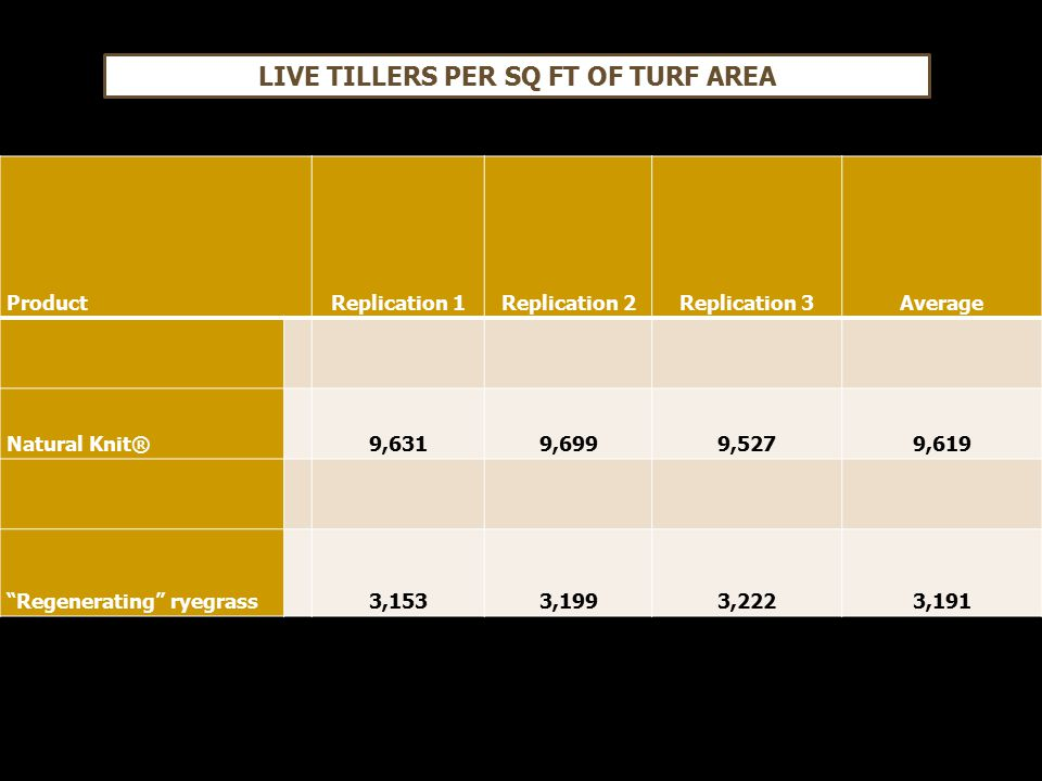 ProductReplication 1Replication 2Replication 3Average Natural Knit®9,6319,6999,5279,619 Regenerating ryegrass3,1533,1993,2223,191 LIVE TILLERS PER SQ FT OF TURF AREA
