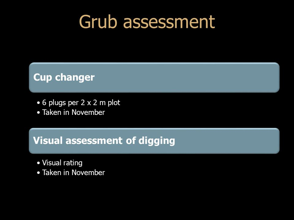 Cup changer 6 plugs per 2 x 2 m plot Taken in November Visual assessment of digging Visual rating Taken in November Grub assessment