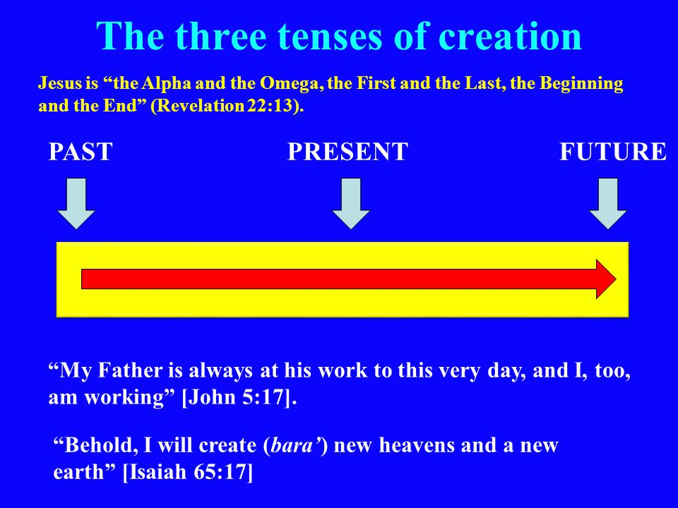 The three tenses of creation PASTPRESENTFUTURE My Father is always at his work to this very day, and I, too, am working [John 5:17].