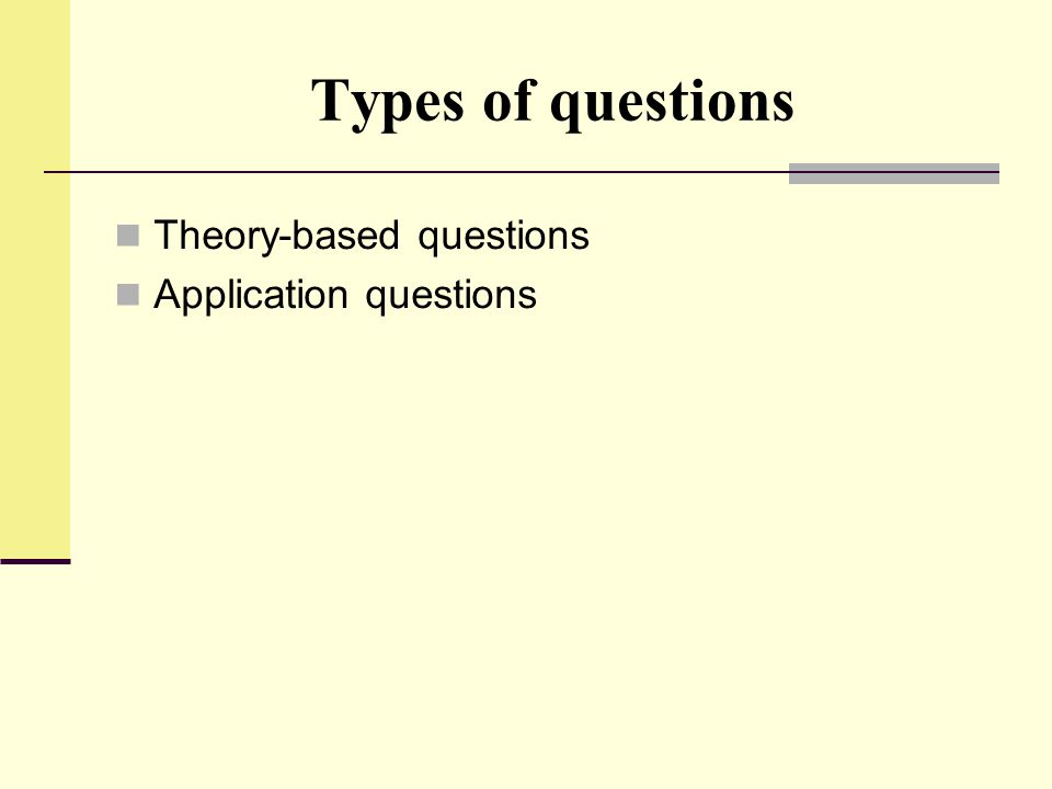 Types of questions Theory-based questions Application questions