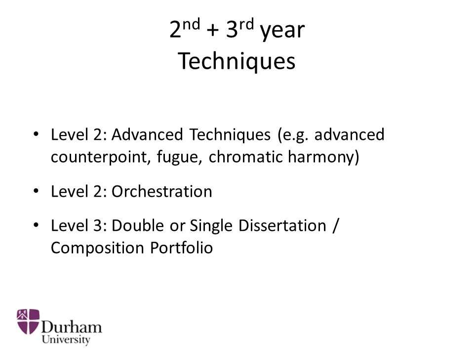 2 nd + 3 rd year Composition Level 2: Approaches to Contemporary Composition Level 2: Creative Music Technology Level 3: Live Computer Music Level 3: Double or Single Portfolio (acoustic or electro-acoustic composition)