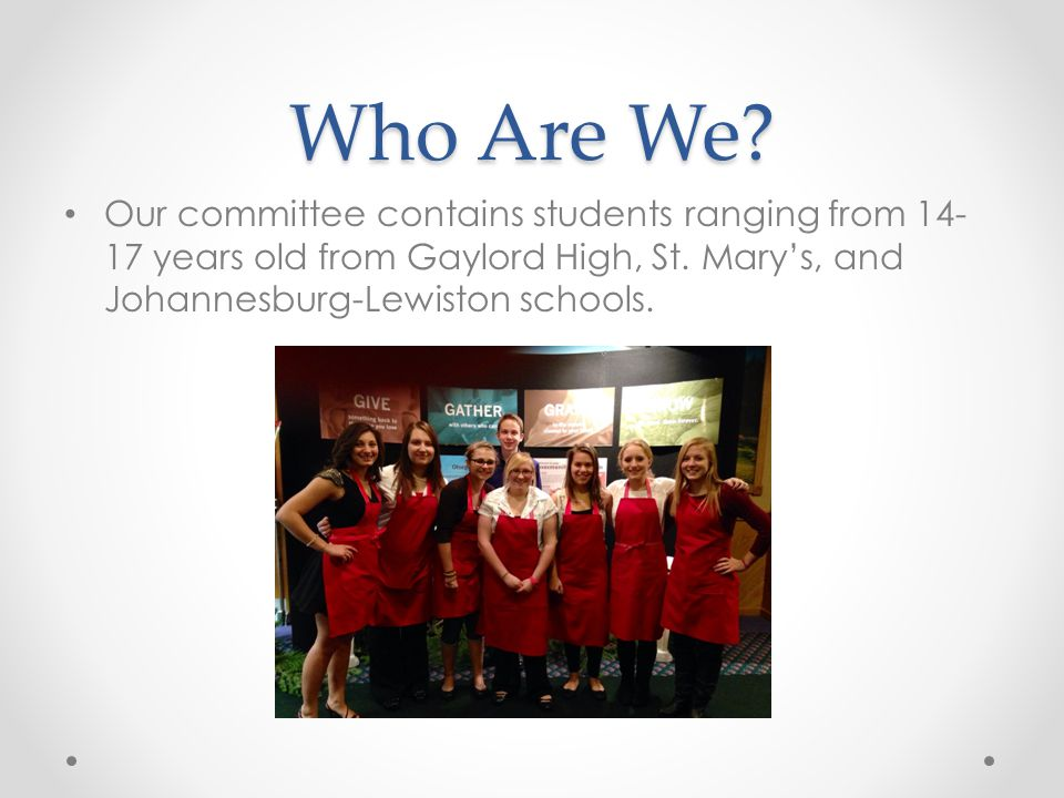 Who Are We. Our committee contains students ranging from 14- 17 years old from Gaylord High, St.