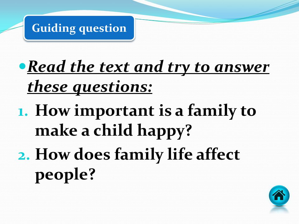 Guiding question Read the text and try to answer these questions: 1.