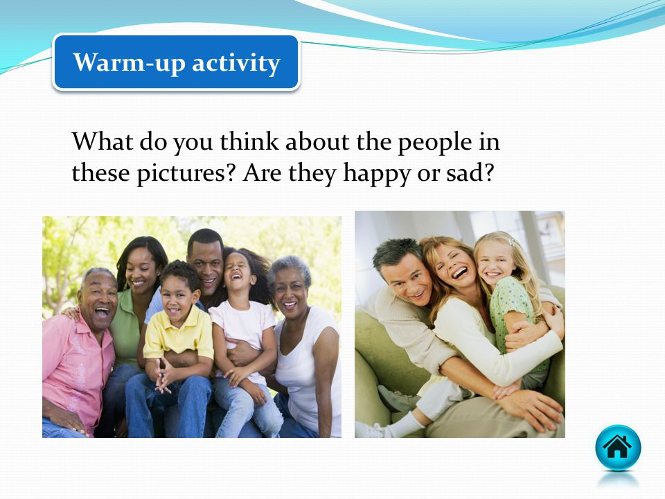 What do you think about the people in these pictures Are they happy or sad Warm-up activity
