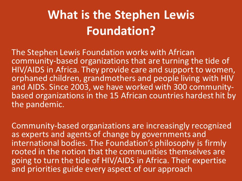 What is the Stephen Lewis Foundation.