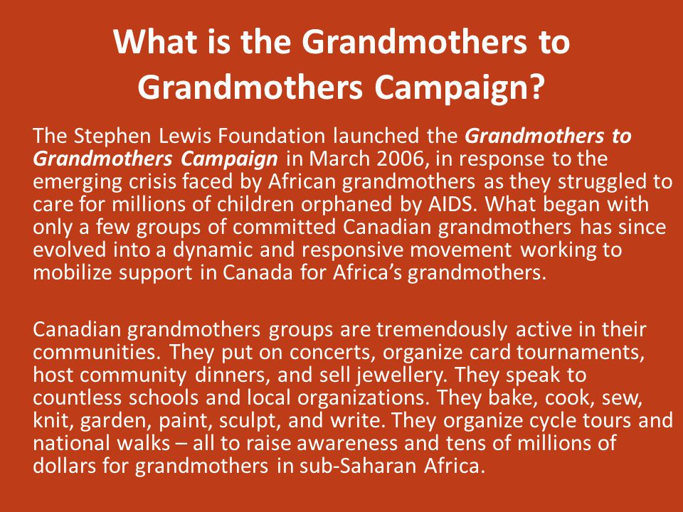 What is the Grandmothers to Grandmothers Campaign.