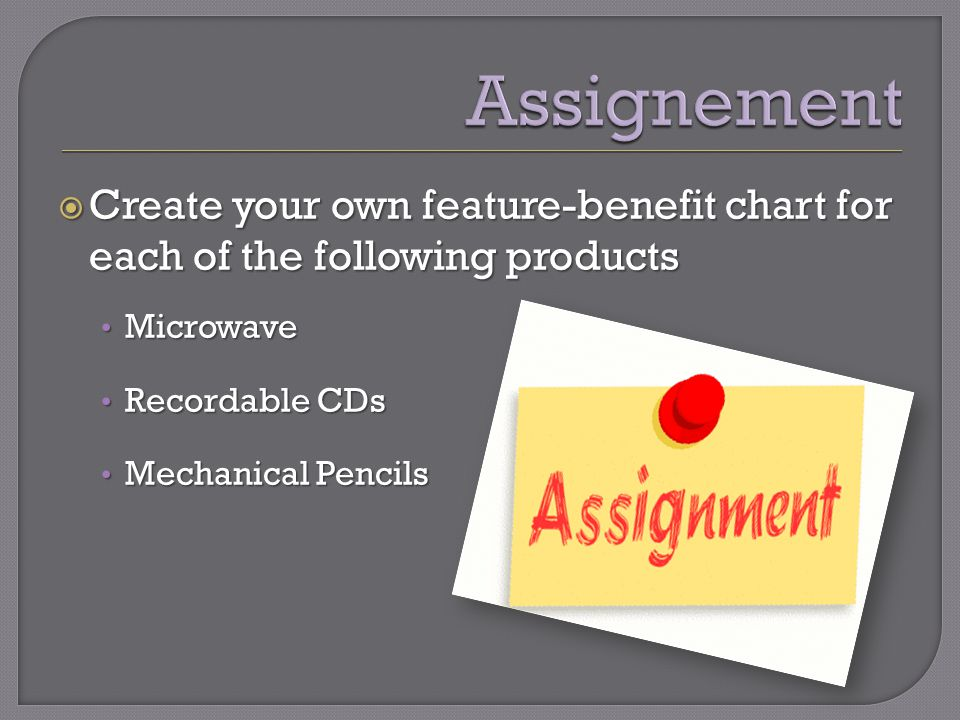  Create your own feature-benefit chart for each of the following products Microwave Microwave Recordable CDs Recordable CDs Mechanical Pencils Mechanical Pencils