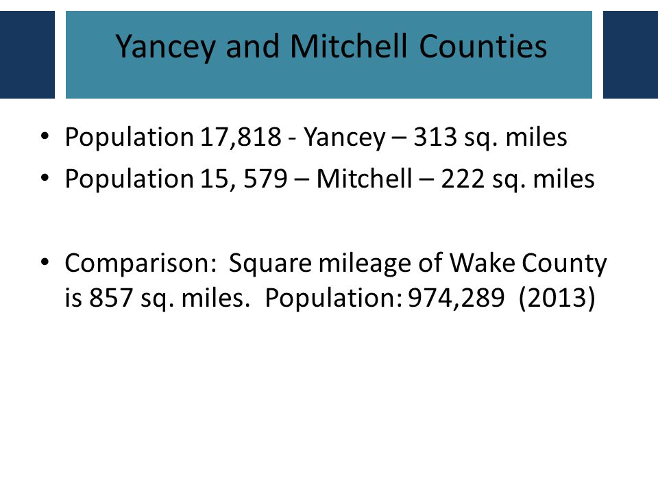 Yancey and Mitchell Counties Population 17,818 - Yancey – 313 sq.
