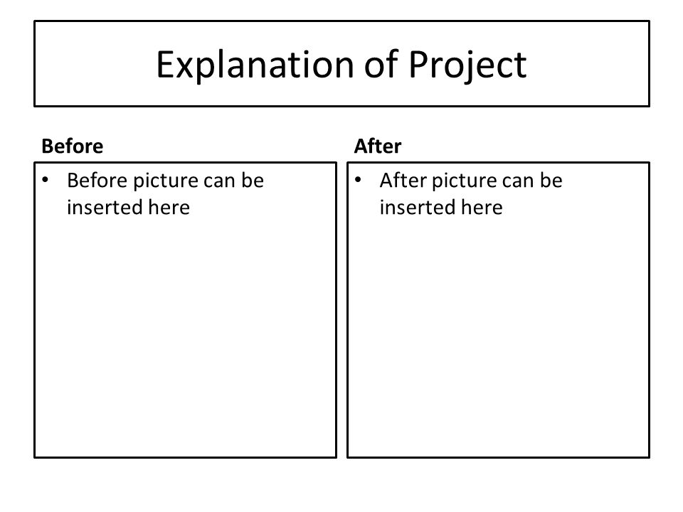 Explanation of Project Before Before picture can be inserted here After After picture can be inserted here