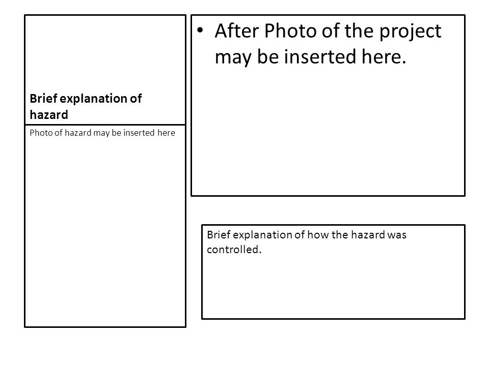 Brief explanation of hazard After Photo of the project may be inserted here.