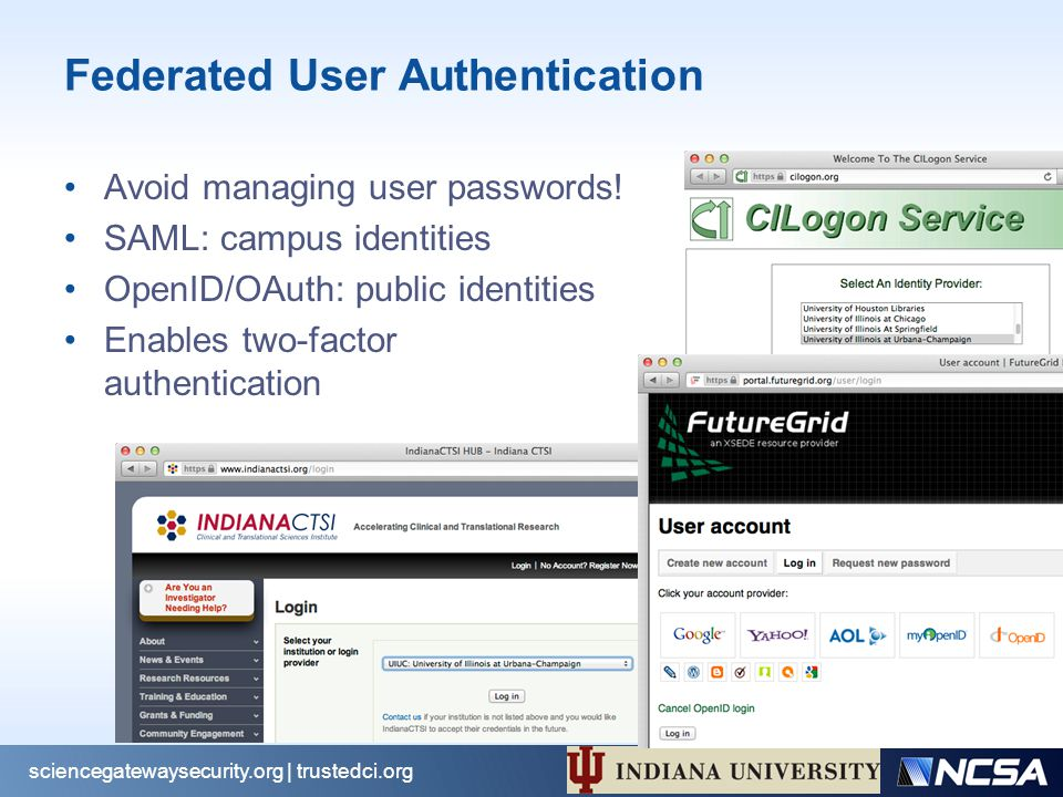 Federated User Authentication Avoid managing user passwords.