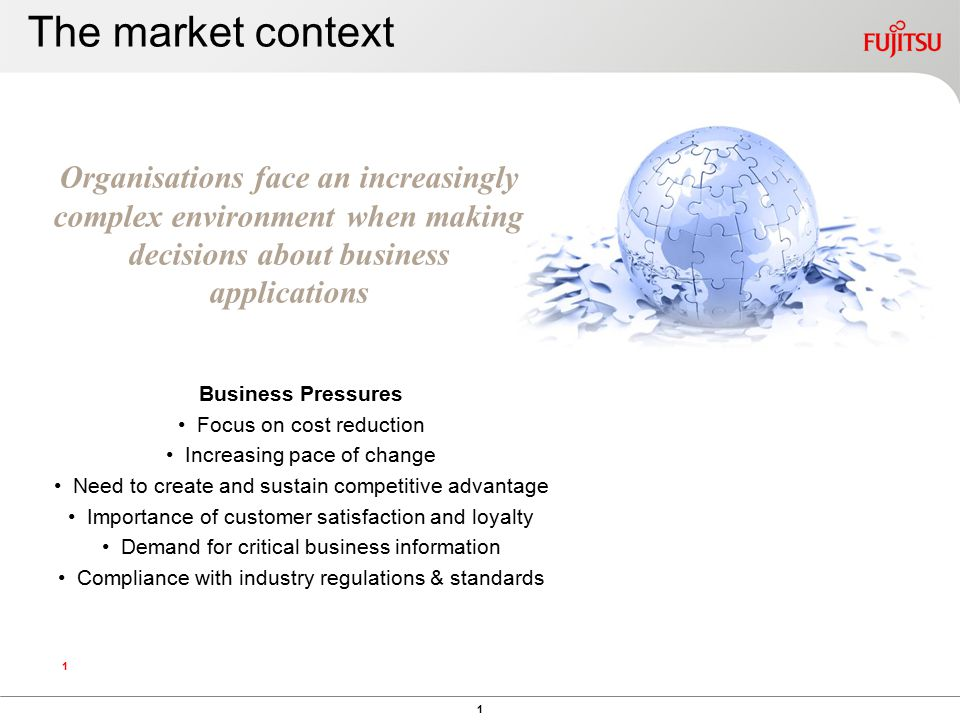 1 1 Organisations face an increasingly complex environment when making decisions about business applications Business Pressures Focus on cost reduction Increasing pace of change Need to create and sustain competitive advantage Importance of customer satisfaction and loyalty Demand for critical business information Compliance with industry regulations & standards The market context