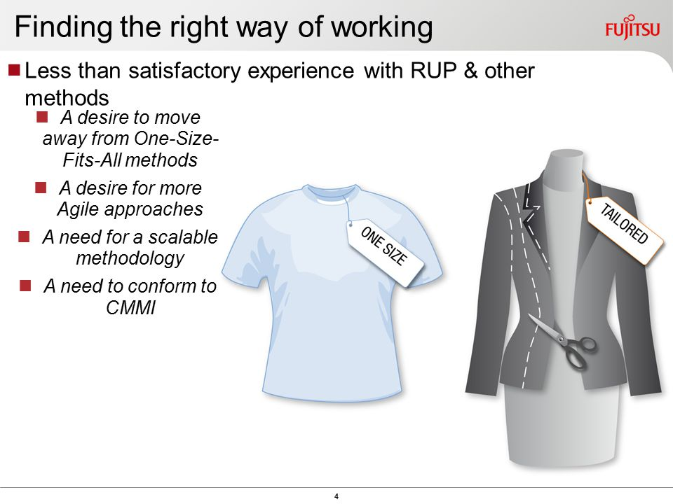 4 Finding the right way of working  Less than satisfactory experience with RUP & other methods A desire to move away from One-Size- Fits-All methods A desire for more Agile approaches A need for a scalable methodology A need to conform to CMMI