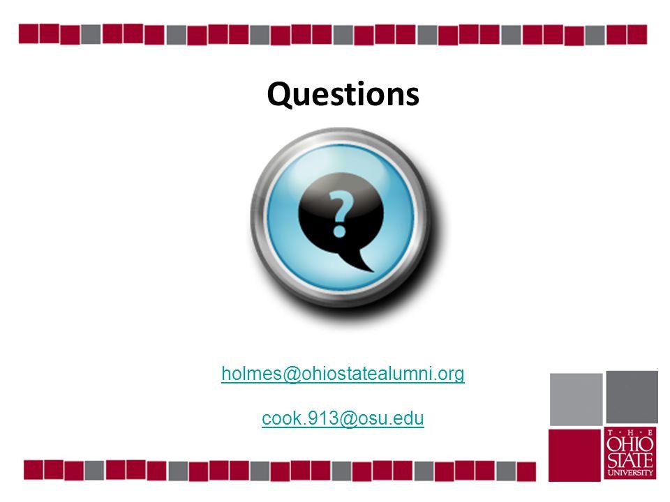 Questions holmes@ohiostatealumni.org cook.913@osu.edu
