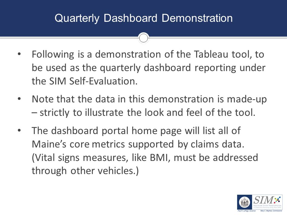 Quarterly Dashboard Demonstration Following is a demonstration of the Tableau tool, to be used as the quarterly dashboard reporting under the SIM Self