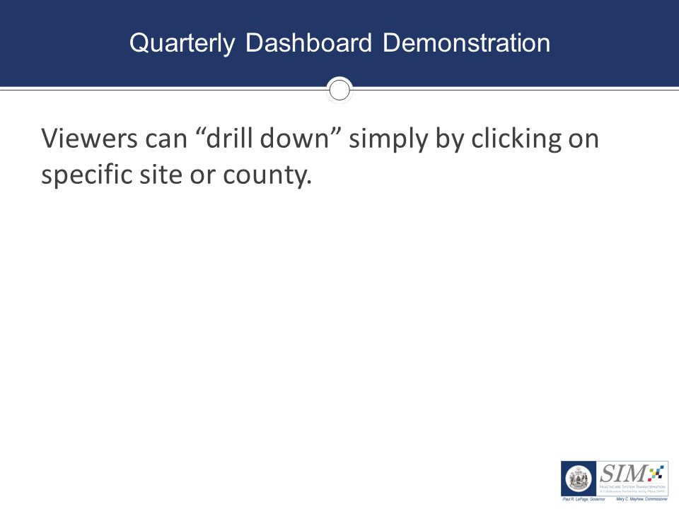 """Quarterly Dashboard Demonstration Viewers can """"drill down"""" simply by clicking on specific site or county."""