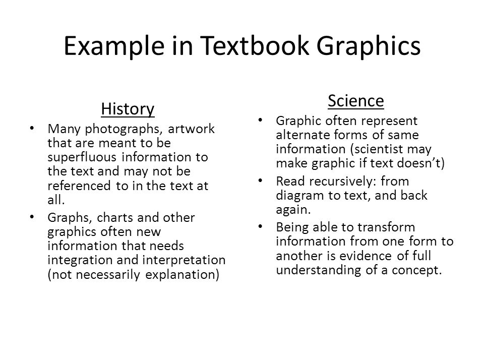 Example in Textbook Graphics Science Graphic often represent alternate forms of same information (scientist may make graphic if text doesn't) Read recursively: from diagram to text, and back again.