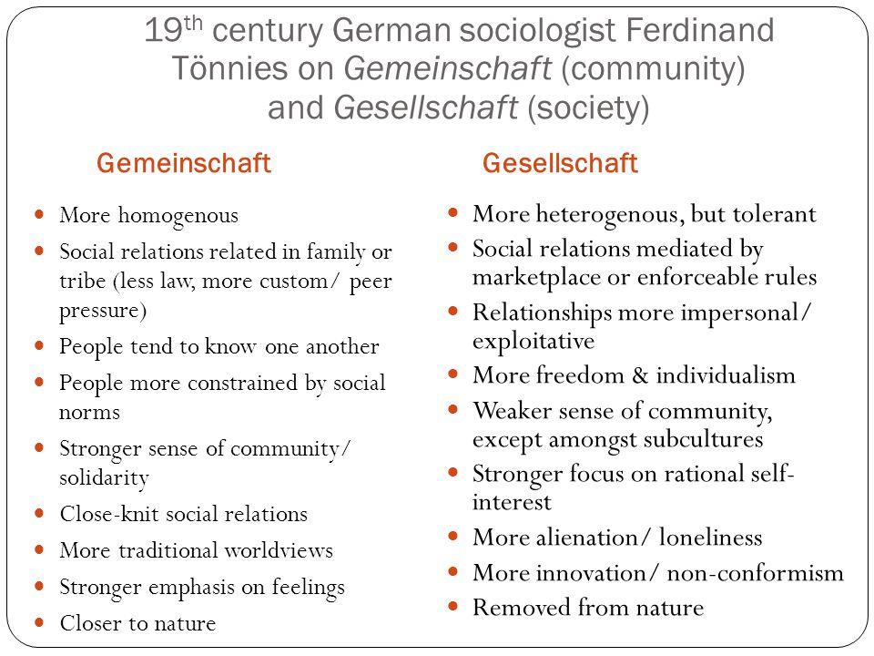 19 th century German sociologist Ferdinand Tönnies on Gemeinschaft (community) and Gesellschaft (society) GemeinschaftGesellschaft More homogenous Soc