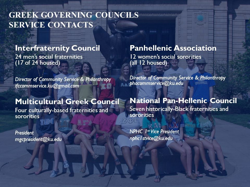 GREEK GOVERNING COUNCILS SERVICE CONTACTS Interfraternity Council 24 men's social fraternities (17 of 24 housed) Director of Community Service & Philanthropy ifccommservice.ku@gmail.com Multicultural Greek Council Four culturally-based fraternities and sororities President mgcpresident@ku.edu Panhellenic Association 12 women's social sororities (all 12 housed) Director of Community Service & Philanthropy phacommservice@ku.edu National Pan-Hellenic Council Seven historically-Black fraternities and sororities NPHC 1 st Vice President nphc1stvice@ku.edu