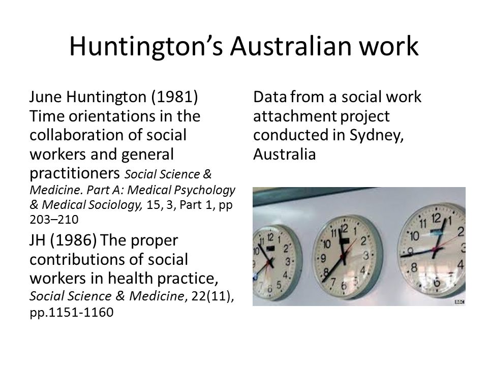 Huntington's Australian work June Huntington (1981) Time orientations in the collaboration of social workers and general practitioners Social Science & Medicine.