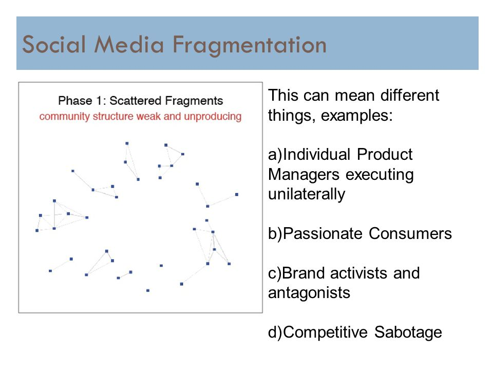 16 Social Media Fragmentation This can mean different things, examples: a)Individual Product Managers executing unilaterally b)Passionate Consumers c)