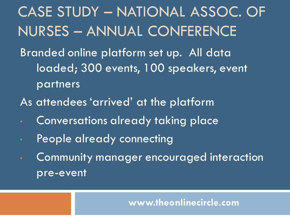 CASE STUDY – NATIONAL ASSOC. OF NURSES – ANNUAL CONFERENCE Branded online platform set up.