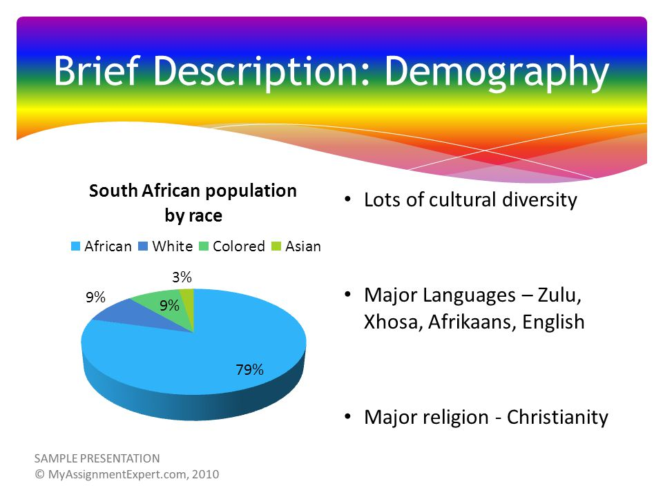 Lots of cultural diversity Major Languages – Zulu, Xhosa, Afrikaans, English Major religion - Christianity Brief Description: Demography SAMPLE PRESENTATION © MyAssignmentExpert.com, 2010