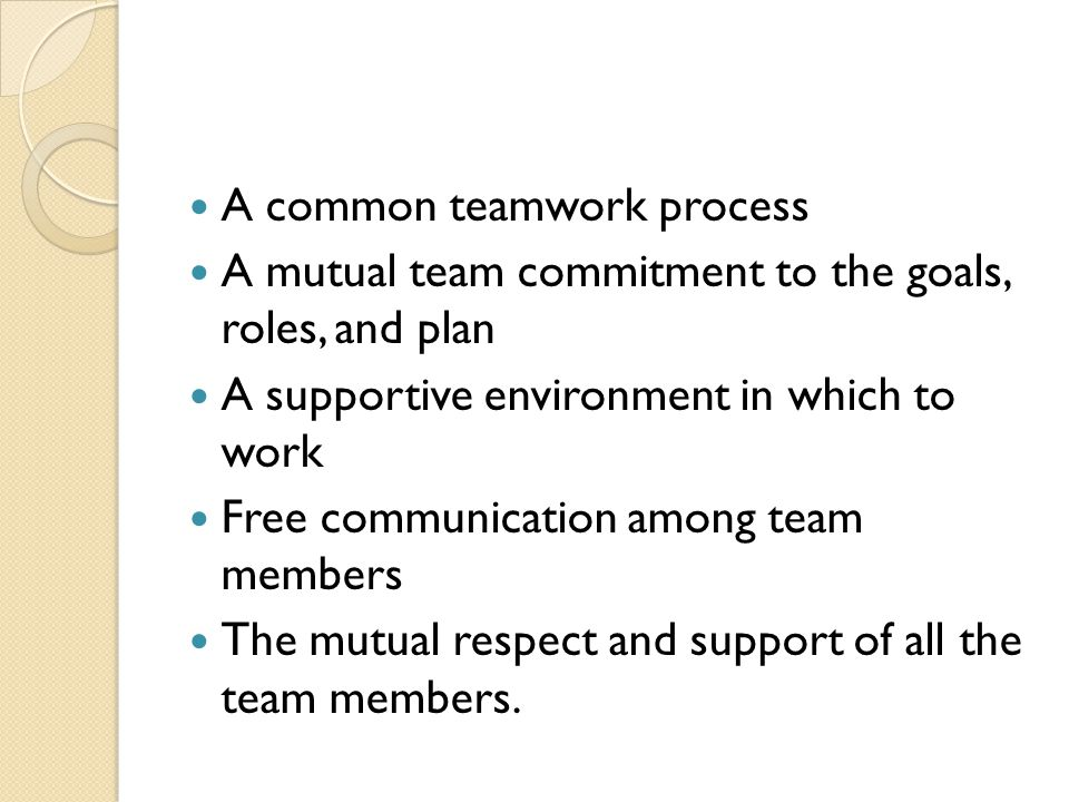 A common teamwork process A mutual team commitment to the goals, roles, and plan A supportive environment in which to work Free communication among team members The mutual respect and support of all the team members.