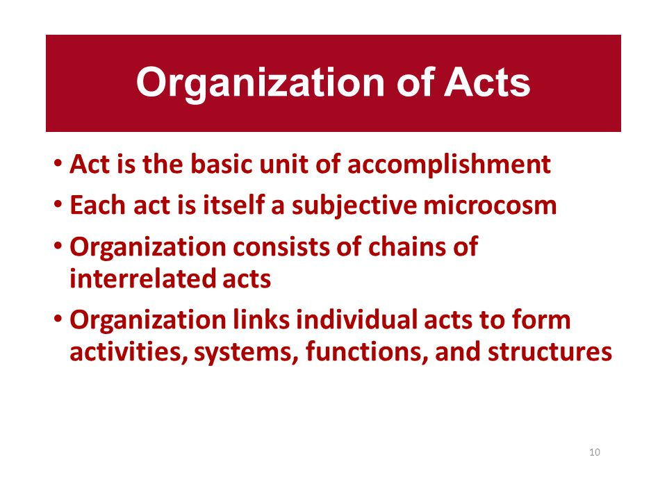Organization of Acts Act is the basic unit of accomplishment Each act is itself a subjective microcosm Organization consists of chains of interrelated acts Organization links individual acts to form activities, systems, functions, and structures 10