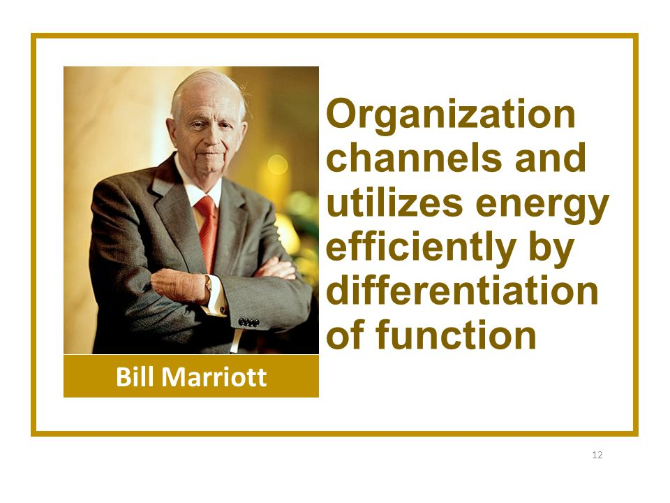 Organization channels and utilizes energy efficiently by differentiation of function 12 Bill Marriott