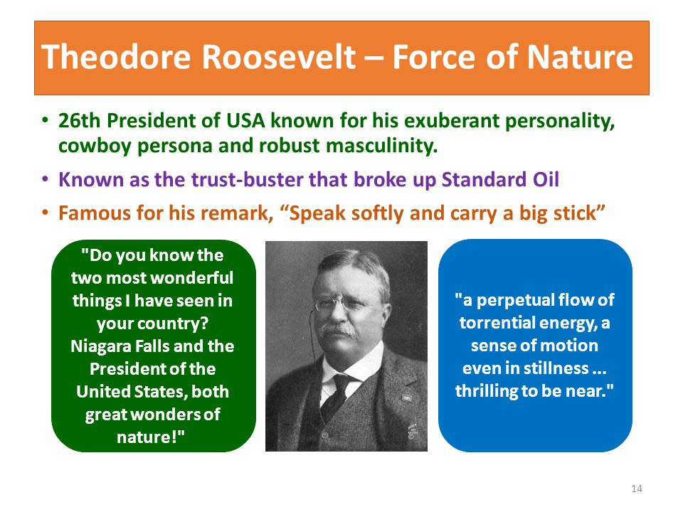 Theodore Roosevelt – Force of Nature 26th President of USA known for his exuberant personality, cowboy persona and robust masculinity.