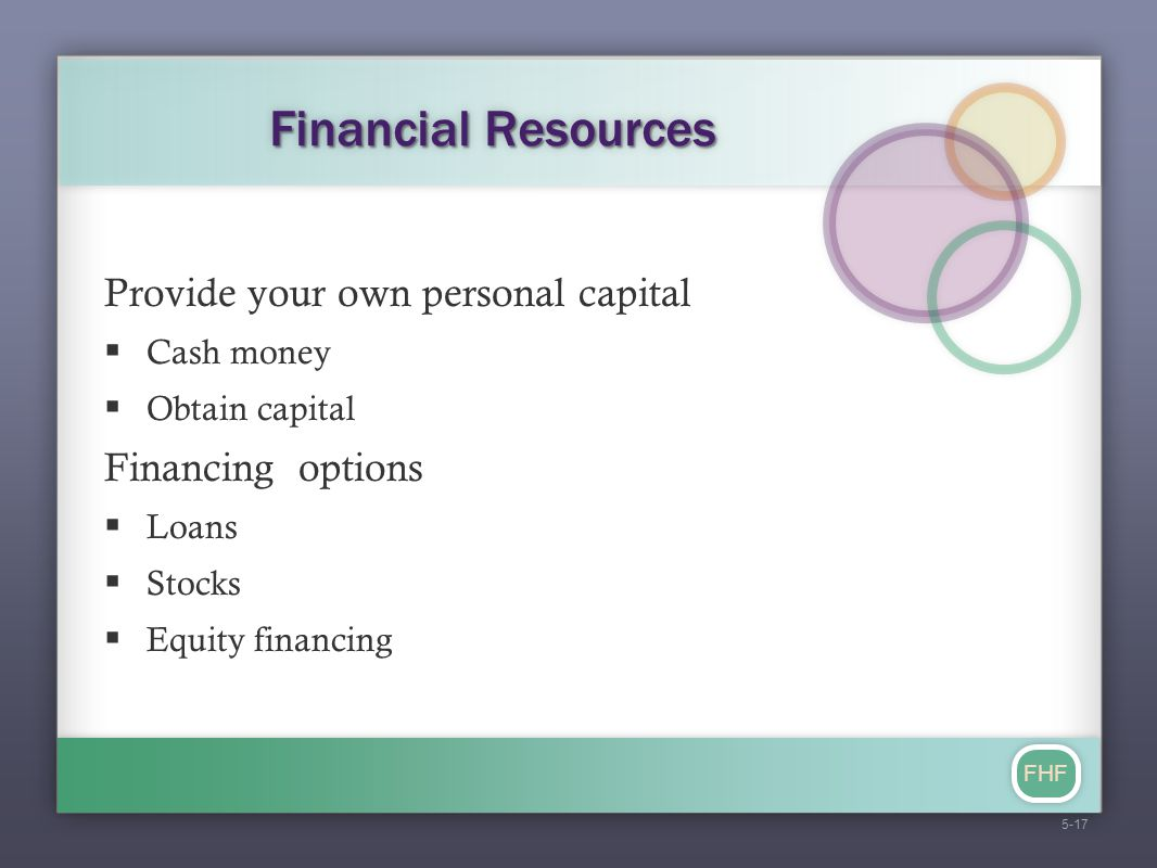 FHF Financial Resources Provide your own personal capital  Cash money  Obtain capital Financing options  Loans  Stocks  Equity financing 5-17