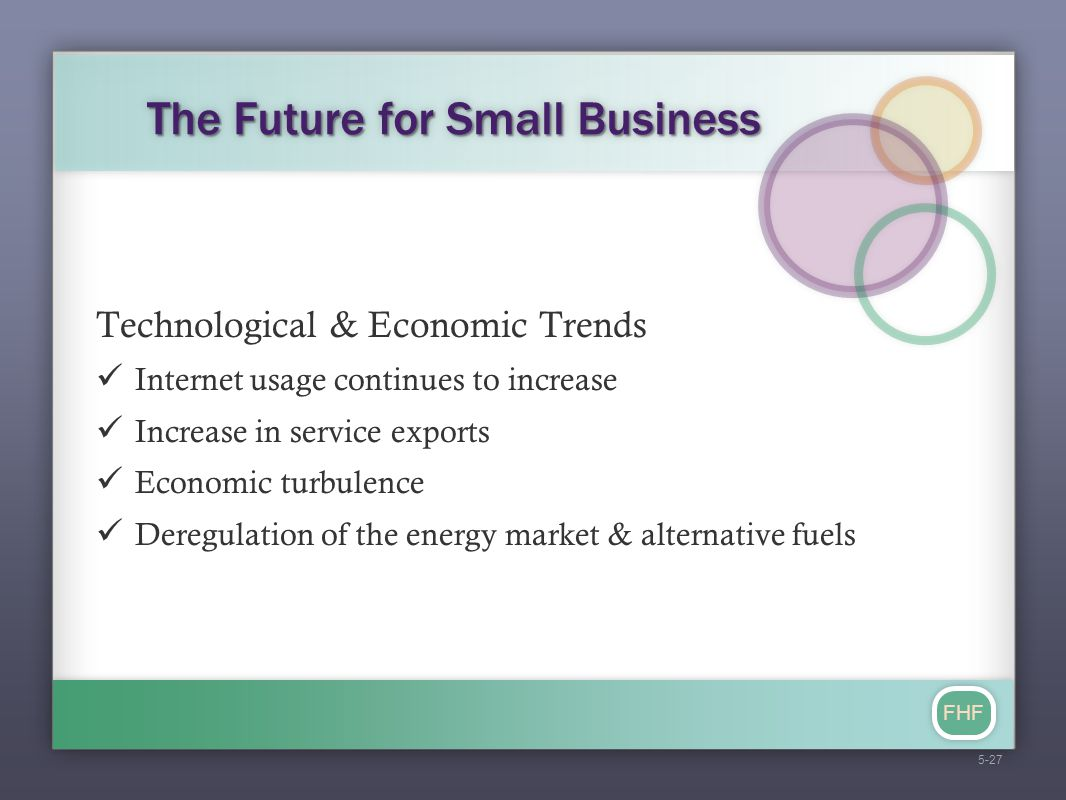 FHF The Future for Small Business Technological & Economic Trends Internet usage continues to increase Increase in service exports Economic turbulence