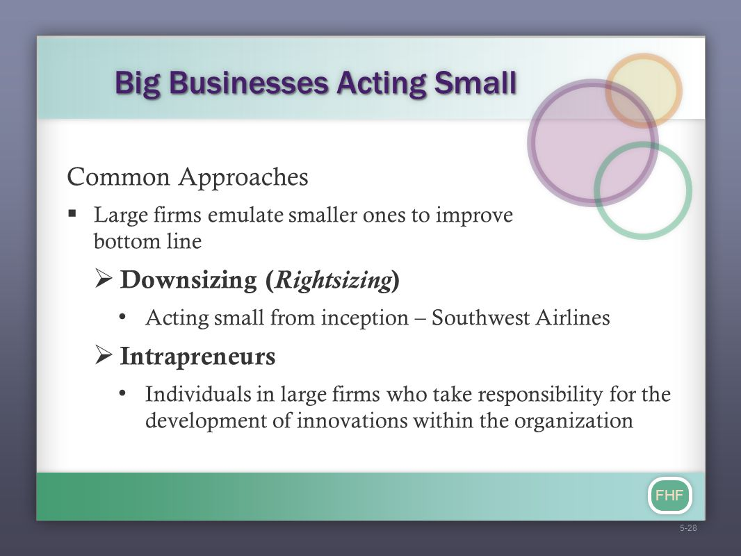 FHF Big Businesses Acting Small Common Approaches  Large firms emulate smaller ones to improve bottom line  Downsizing ( Rightsizing ) Acting small