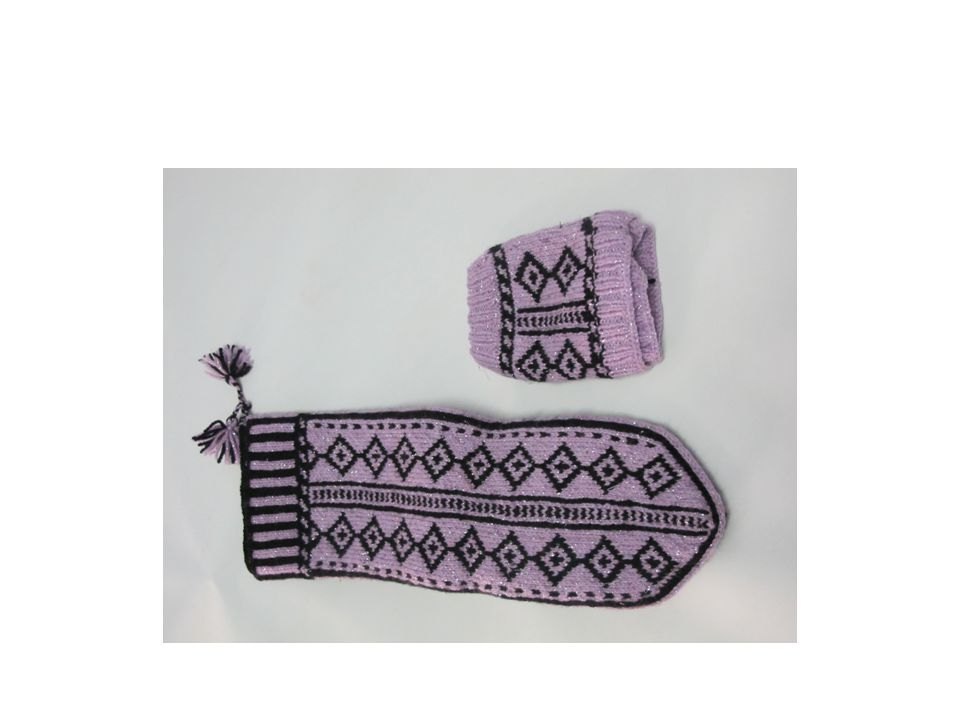 These are head scarves.Women knit some motifs around them and worn as ornament on the top of the clothing