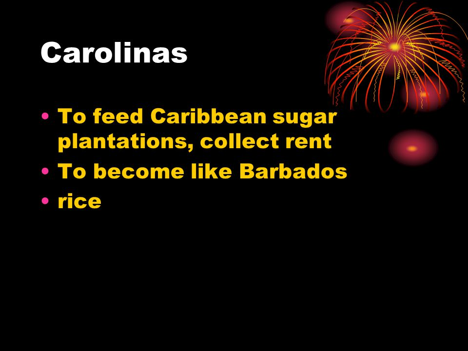 Carolinas To feed Caribbean sugar plantations, collect rent To become like Barbados rice