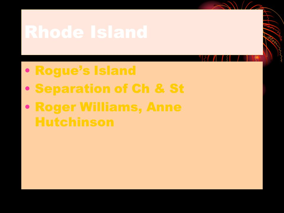 Rhode Island Rogue's Island Separation of Ch & St Roger Williams, Anne Hutchinson
