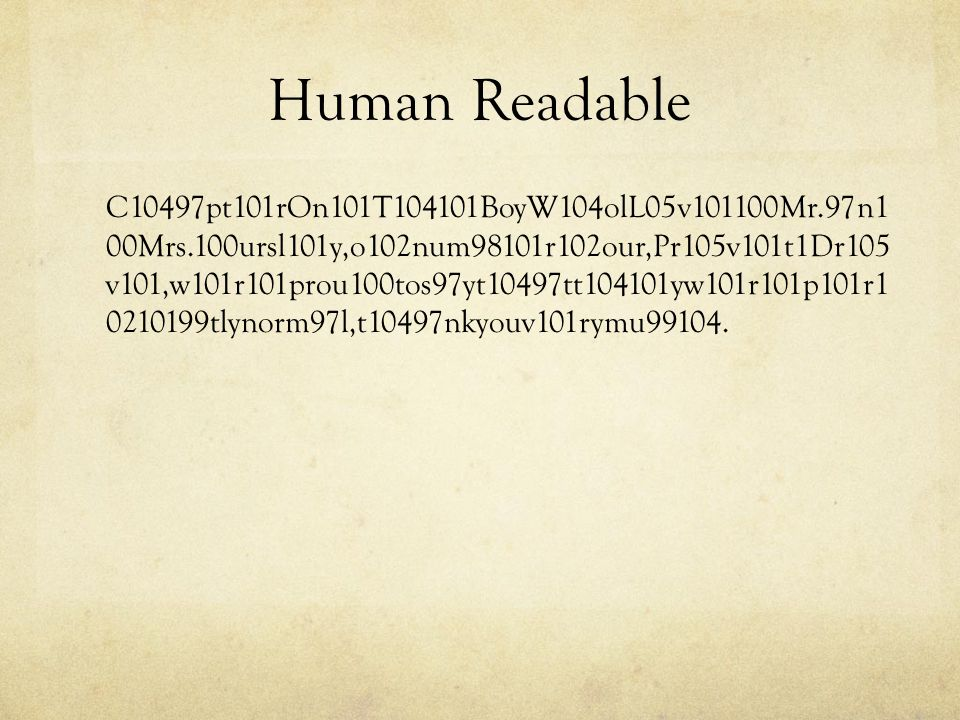 Human Readable C10497pt101rOn101T104101BoyW104olL05v101100Mr.97n1 00Mrs.100ursl101y,o102num98101r102our,Pr105v101t1Dr105 v101,w101r101prou100tos97yt10