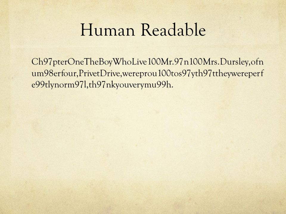 Human Readable Ch97pterOneTheBoyWhoLive100Mr.97n100Mrs.Dursley,ofn um98erfour,PrivetDrive,wereprou100tos97yth97ttheywereperf e99tlynorm97l,th97nkyouverymu99h.