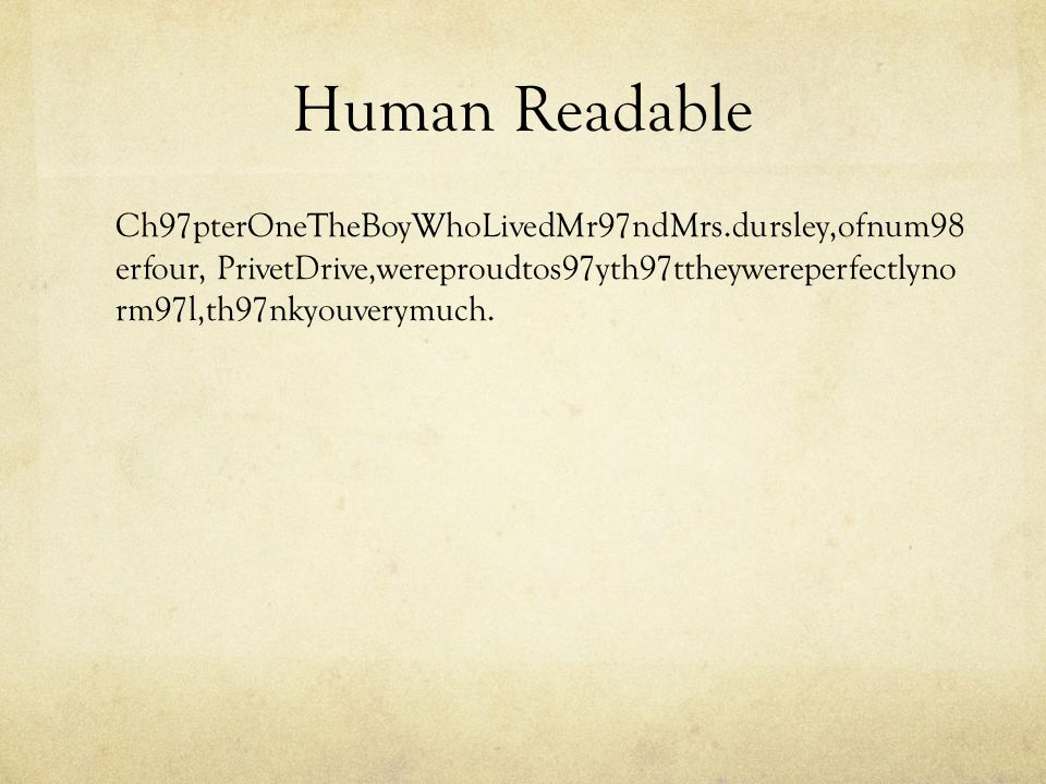 Human Readable Ch97pterOneTheBoyWhoLivedMr97ndMrs.dursley,ofnum98 erfour, PrivetDrive,wereproudtos97yth97ttheywereperfectlyno rm97l,th97nkyouverymuch.